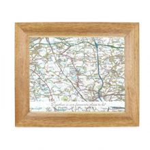 Postcode Map Wooden 10x8 Photo Frame - Present Day With Message